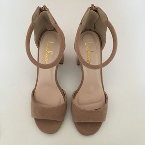 Taupe Block Heel Ankle Strap Sandals!